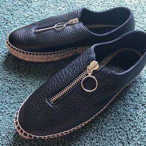 Alexander wang black leather espadrilles, size 10